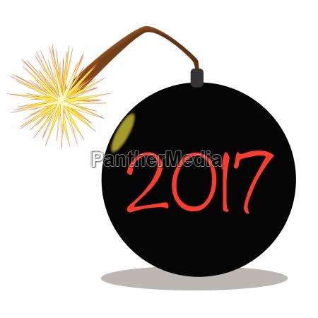 cartoon 2017 new year bomb