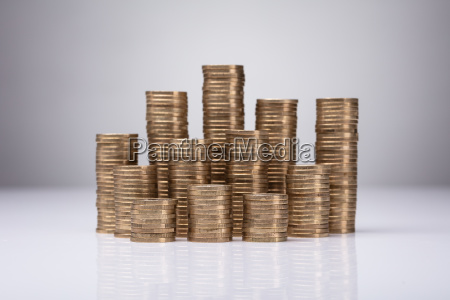 close up of stacked coins