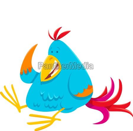 funny colorful bird cartoon animal character
