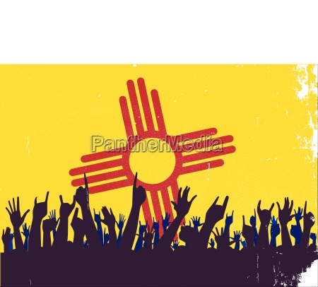 new mexico state flag with audience