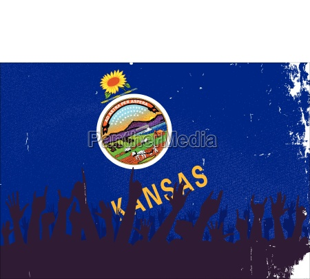 kansas state flag with audience