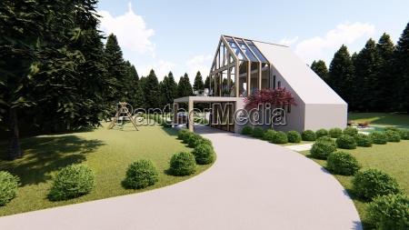 scandinavian modern house exterior 3d rendering