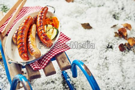 succulent grilled pork sausages for a