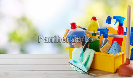 colorful yellow box with cleaning supplies