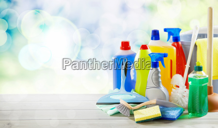 assorted of plastic bottles with cleaning