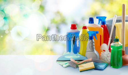 sanitation and cleaning supplies on a