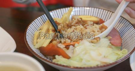 minced pork rice in taiwanese restaurant