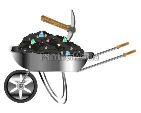 wheelbarrow loaded by sort with jewels