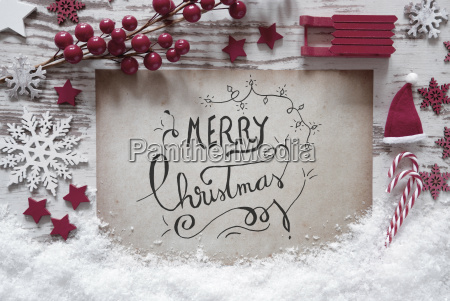 red christmas decoration snow calligraphy merry