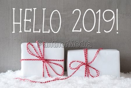 two gifts with snow text hello