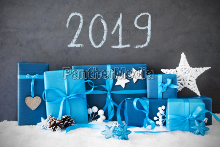 many blue christmas gifts snow english