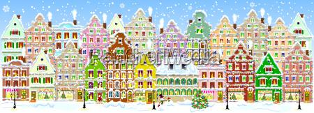 city in winter banner