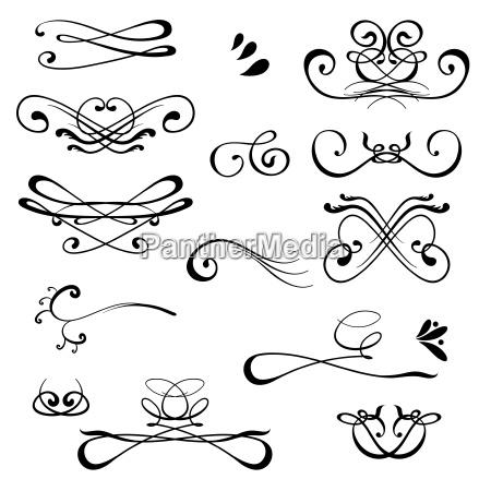 vintage calligraphic design elements set of