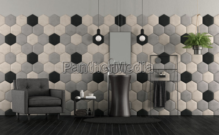 bathroom with sink and hexagonal tiles