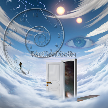 surrealism spiral of time lonely man