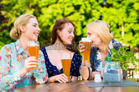 friends toasting with beer in garden