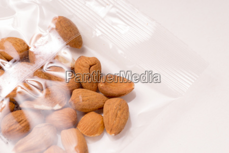 organic delicious almonds packages in plastic