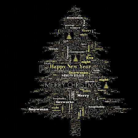 merry christmas word cloud in tree