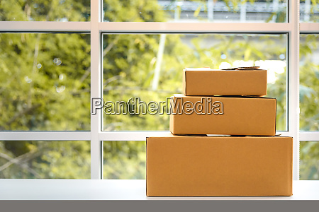 paper boxes on table natural background