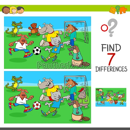 find differences game with animals playing