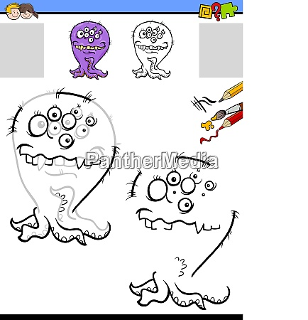 drawing and coloring worksheet with funny