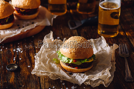 homemade burger with beer