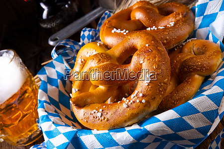 real homemade bavarian salty pretzel with