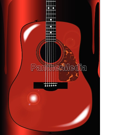 red acoustic guitar background