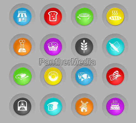 bakery colored plastic round buttons icon