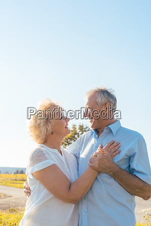 romantic elderly couple enjoying health and