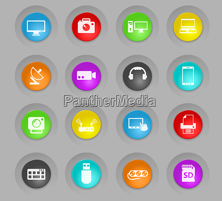 devices colored plastic round buttons icon