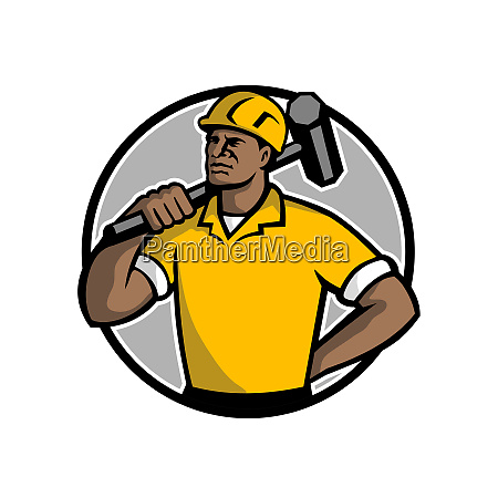 african american demolition worker mascot