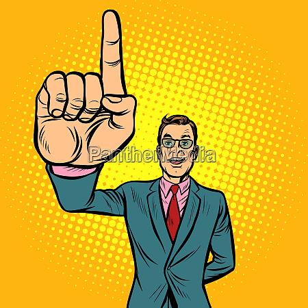 attention gesture man index finger up