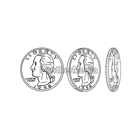 united states dollar coin spinning drawing