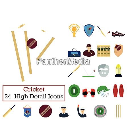 set of 24 cricket icons