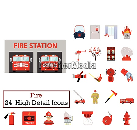 set of 24 fire icons