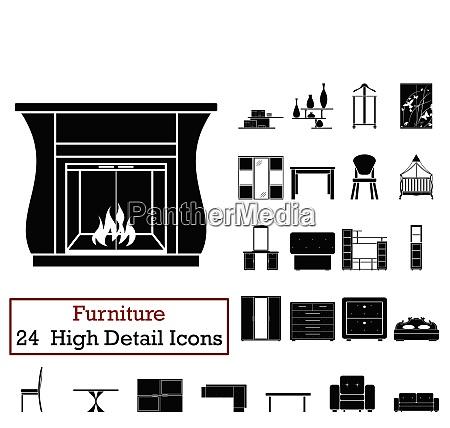 set of 24 furniture icons