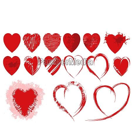 set of red grunge heart shapes