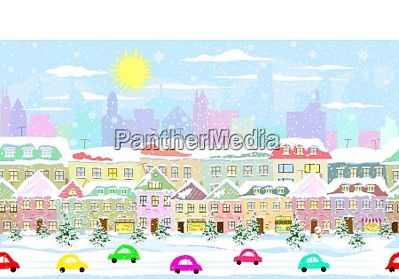 winter cityscape seamless