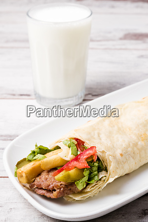 lavash wrap chicken kebab served in