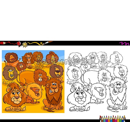 lions animal characters group coloring book