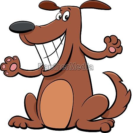 happy dog pet cartoon character