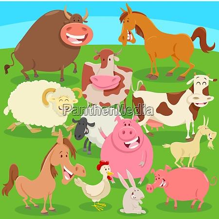 farm animals on the meadow cartoon