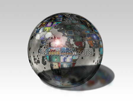 planet earth with media images on