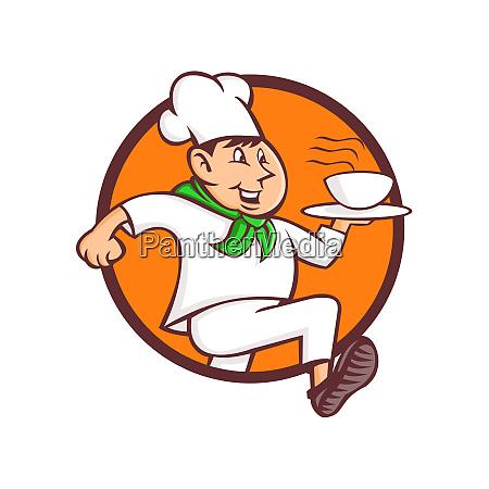 running chef serving fast food mascot