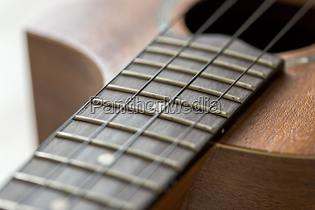 ukulele fretboard close up