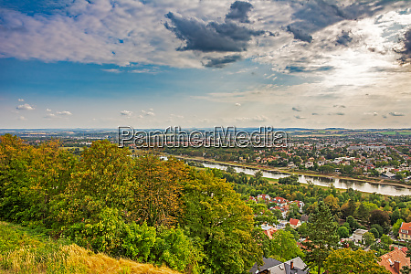 aerial view over dresden and the