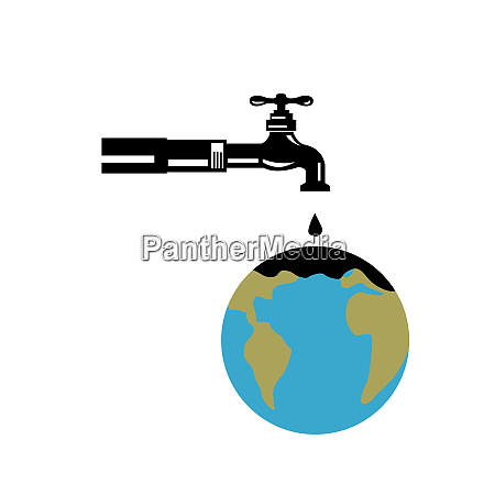 faucet dripping water on globe retro