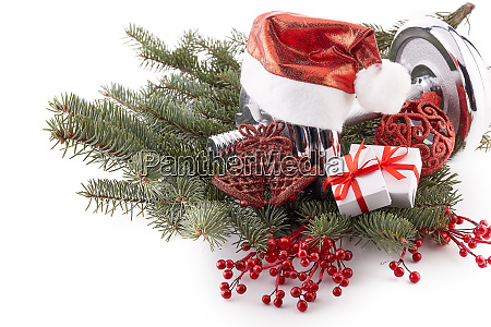 dumbbell and christmas decorations fitness
