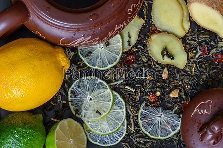 teapot with ingredients for ginger tea